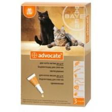 ADVOCATE - комплексное средство от паразитов для кошек до 4 кг и хорьков