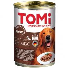 TOMi 5 ВИДОВ МЯСА (5 kinds of meat) консервы корм для собак, банка
