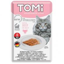 TOMi Sterilised Beef in Jelly ТОМИ СТЕРИЛАЙЗИД ГОВЯДИНА В ЖЕЛЕ суперпремиум влажный корм консервы для стерилизованных кошек и кастрированных котов, пауч