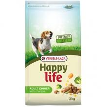 Happy Life Adult Dinner с курицей и овощами сухой корм для собак всех пород