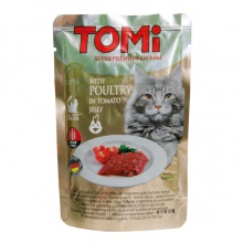 TOMi POULTRY in tomato jelly ТОМИ ПТИЦА В ТОМАТНОМ ЖЕЛЕ суперпремиум влажный корм, консервы для кошек, пауч