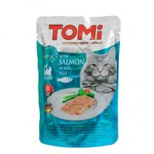 TOMi SALMON in egg jelly ТОМИ ЛОСОСЬ В ЯИЧНОМ ЖЕЛЕ суперпремиум влажный корм, консервы для кошек, пауч