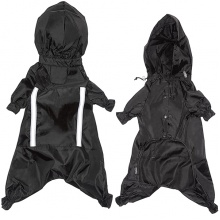 Flamingo Raincoat Safety ФЛАМИНГО одежда для собак, защитный комбинезон с капюшоном и светоотражающими вставками, черный