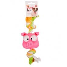 Flamingo Animal Head+Rope ФЛАМИНГО игрушка для собак, голова с канатом, винил